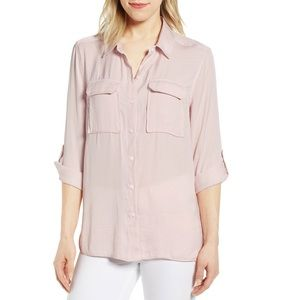 Two by Vince Camuto Soft pink button down blouse